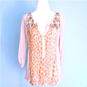 Anthropologie TINY mixed media henley top, sz M